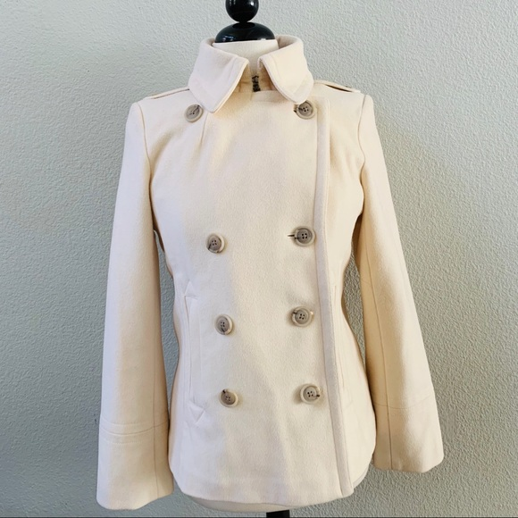 J. Crew Jackets & Blazers - J.CREW off white wool double breasted pea coat M